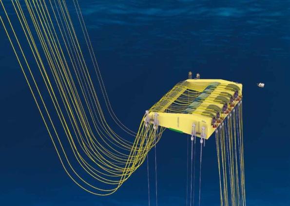 Figura 9 – Boias (risers) para isolar a correnteza do mar das tubulações, que permite montar as tubulações sem precisar de plataforma. Fonte: COPPE UFRJ [8].