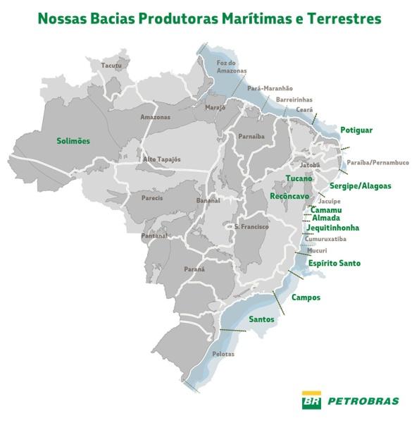 Figura 3 – Bacias petrolíferas brasileiras. Fonte: Petrobras [3].