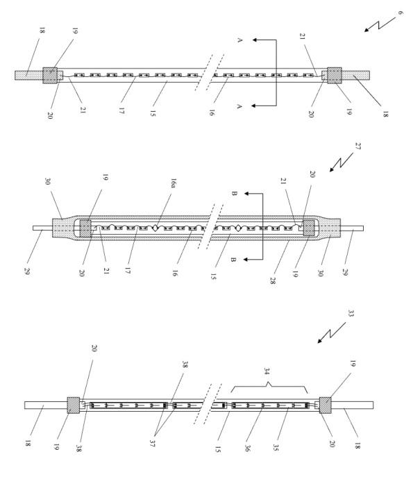 Figura 100 – Modelos de filamento LED descritos na patente da Ledisong, o do meio é envolvido em um tubo fluorescente. Fonte: Google Patents [270].