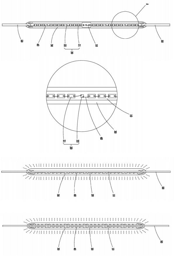 Figura 105 – Modelos de filamentos LED, obtidos da patente da Runlite (US20140369036 A1). Fonte: Free Patents Online [278].