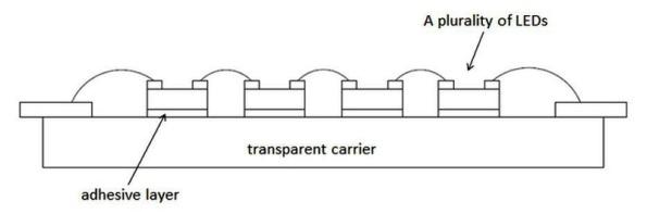 Figura 109 – Desenho publicado na página da Epistar, referente a uma patente de filamento LED, que seria antecessora às outras. Fonte: Epistar [284].