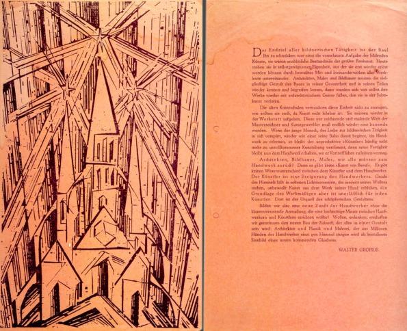 Figura 125 – Manifesto Bauhaus, observar a gravura da catedral, desenho de Lyonel Feinninger, com diversas simbologias. Fonte: Clio's Calendar [403].