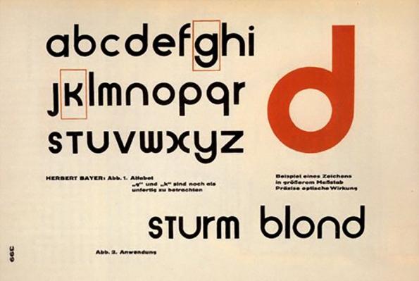 "Figura 128 – Fonte ""Sturm blond"", de Herbet Bayer. Fonte: Tipógrafos [406]."