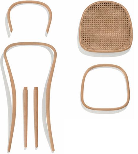 Figura 131 – Peças da cadeira Thonet 214, exceto os parafusos e porcas. Fonte: Thonet [411].