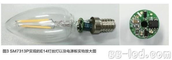 Figura 62 – Lâmpada de filamento LED com rosca E14, desmontada, onde é possível identificar os componentes utilizados. Fonte: FuriLED [162].