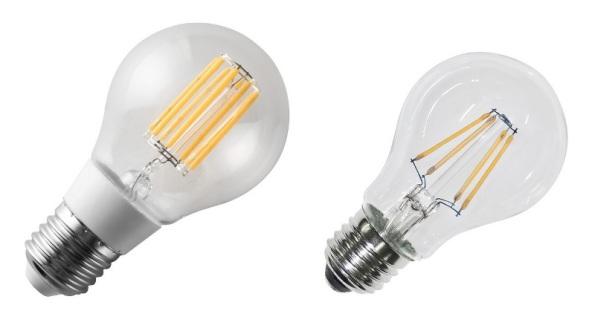 Figura 63 – Lâmpadas de filamento LED, a da esquerda com pescoço prolongador, para alojar o circuito de alimentação interno. A da direita não utiliza este recurso e é quase idêntica às incandescentes. Fonte Arteleta/LYVIA [163].