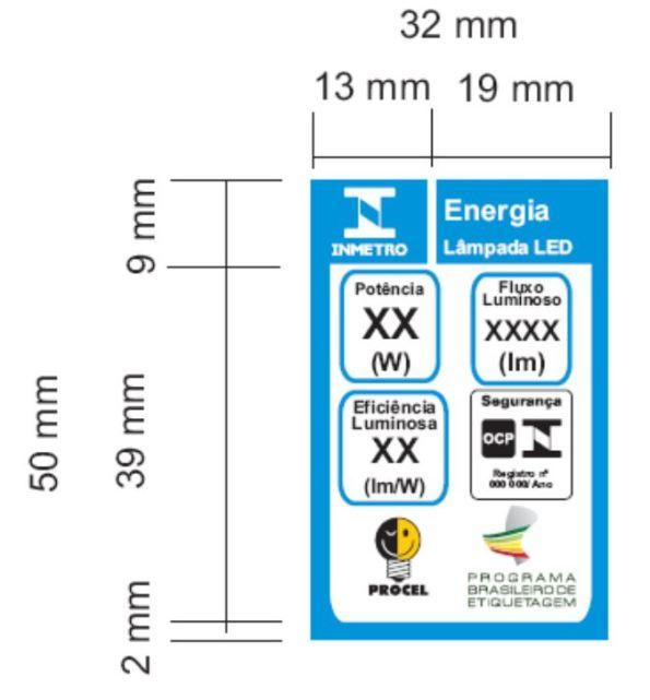 Figura 83 – Selo ENCE Procel de 50x32mm (altura x largura) de tamanho normal, utilizado para todas as lâmpadas LED certificadas. Fonte: Portaria INMETRO 389 [227].