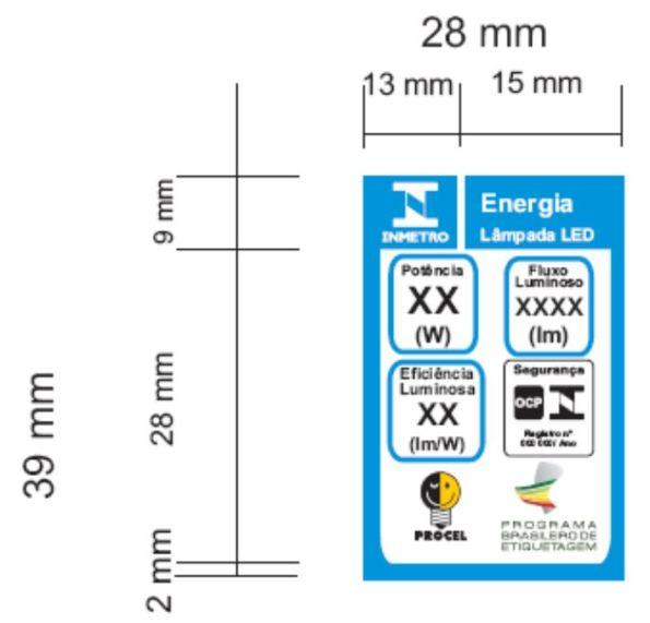 Figura 84 – Selo ENCE Procel de 39x28mm de tamanho reduzido, utilizado para as lâmpadas LED tubulares. Fonte: Portaria INMETRO 389 [227].
