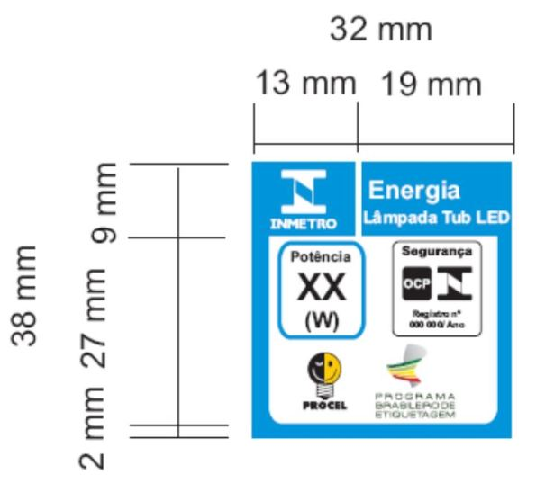 Figura 85 – Selo ENCE Procel de 38x32mm provisório, sem indicação de eficiência, utilizado exclusivamente para lâmpadas LED tubulares de 2,4 metros de comprimento, enquanto não tiverem a avaliação de desempenho. Fonte: Portaria INMETRO 389 [227].