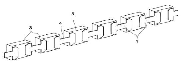Figura 89 – Sequência de LED, formando algo semelhante a um filamento maleável. Fonte: Google Patents [259].