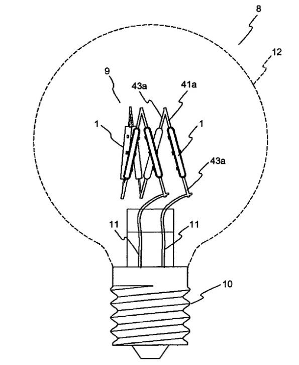 Figura 91 – Lâmpada de filamento LED da Ushio, comparar com a lâmpada Ushio da figura 64. Fonte: J-Plat-Pat [263].