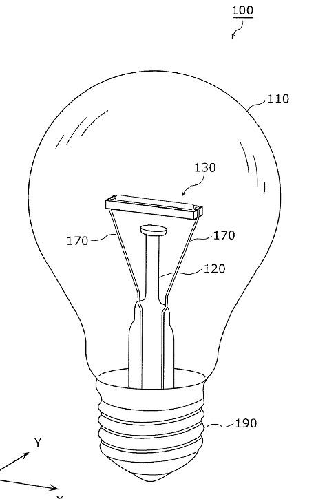Figura 94 – Desenho do protótipo inicial da lâmpada Panasonic Nostalgic Clear, obtido da patente US20120256538 – Fonte: Google Patents [266].