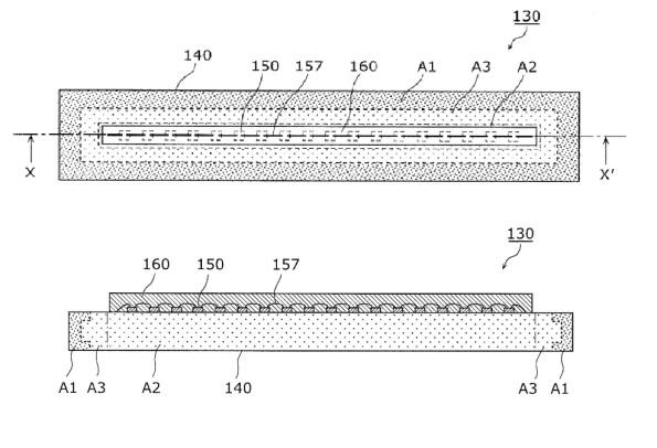 Figura 95 – Desenho da fonte de luz LED do protótipo inicial da lâmpada Panasonic Nostalgic Clear, obtido da patente US20120256538 – Fonte: Google Patents [266].