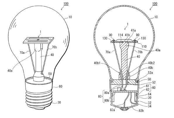 Figura 96 – Desenho da lâmpada Panasonic Nostalgic Clear melhorada, obtido da patente US2014/0078738 A1 (p. 29). Fonte: Google Patents [267].