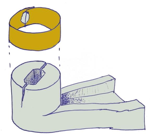 Figura 11 – Camisa de sobrepor, em forma de tubo, encaixada justo na peça plástica, com a mesma finalidade da figura 10.