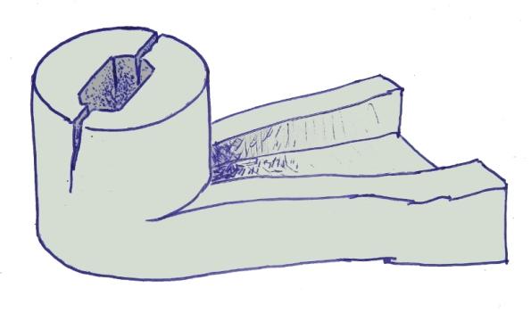 Figura 5 – Desenho da extremidade da aleta quebrada. A aleta não está representada, a peça apenas trincou no encaixe com a engrenagem do motor.