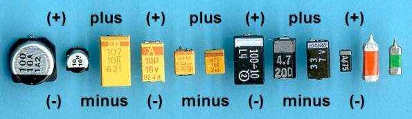 Figura 33 – Capacitores eletrolíticos SMD, com indicação de polaridade. Os dois da esquerda, com caneca, são eletrolíticos de alumínio. Fonte: imagem de Gottfried Silberhorn, Wikipedia [11].