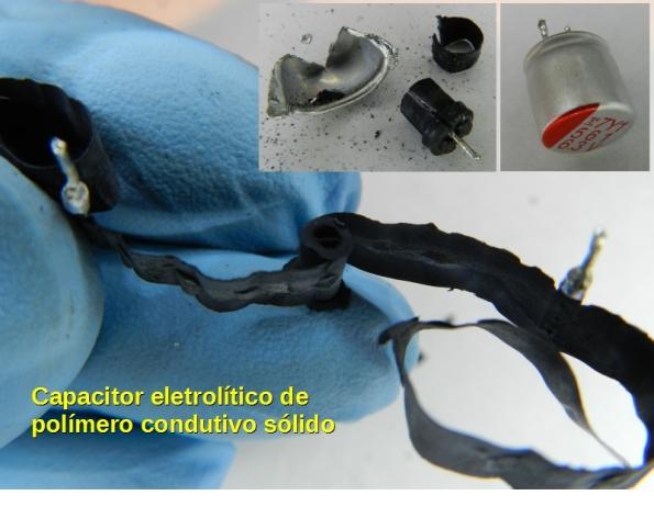 Figura 41 – Capacitor eletrolítico de polímero condutivo sólido Fujitsu FPCAP, desmontado para observação das partes.