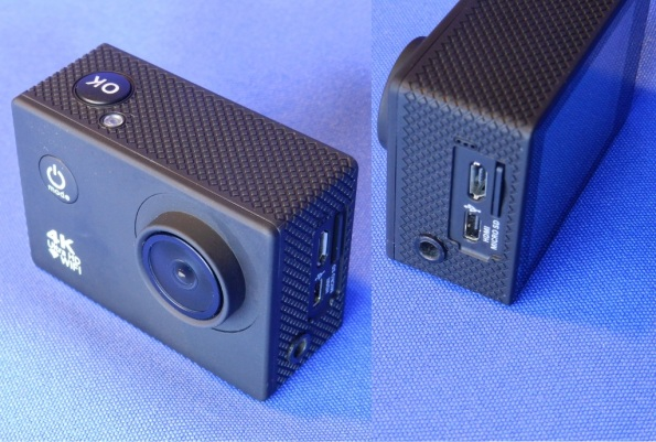 Figura 1 – Câmera semelhante à GoPro, com conexão para microfone externo.
