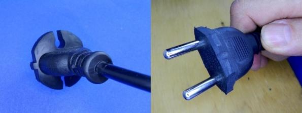 Figura 1 - Plugue padrão CEE 7/17, de pinos grossos, antes e depois da modificação.