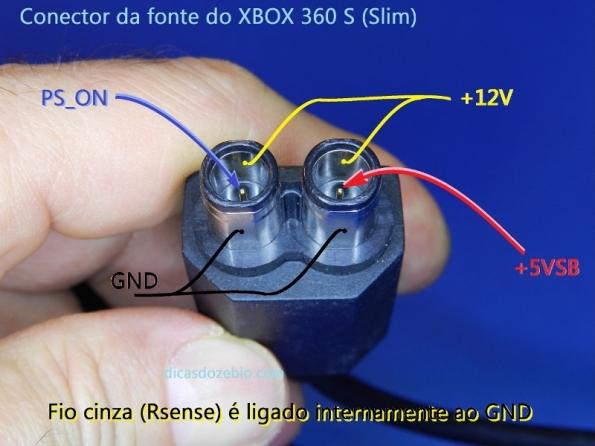 Figura 1 – Identificação dos polos do conector da fonte XBOX para o modelo 360 S.