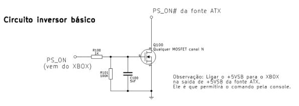 Figura 18 – Circuito para comandar uma fonte ATX com o XBOX 360 S.