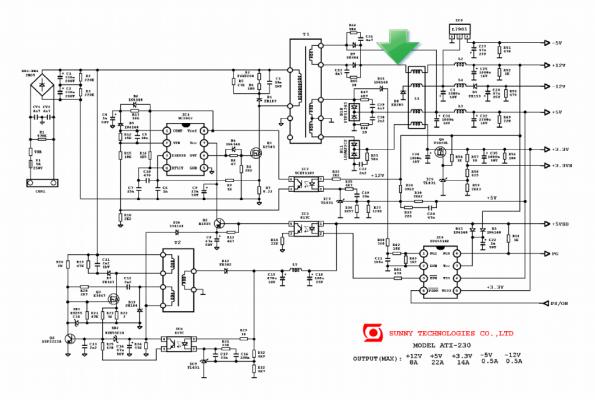 Figura 21 – Fonte ATX, em destaque o ponto onde deve ser retirada a tensão de polarização para o MOSFET. Fonte: Elektrotanya [2].