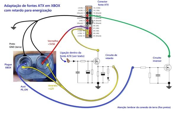 Figura 22 – Ligações do adaptador com fonte ATX para XBOX, com retardo.