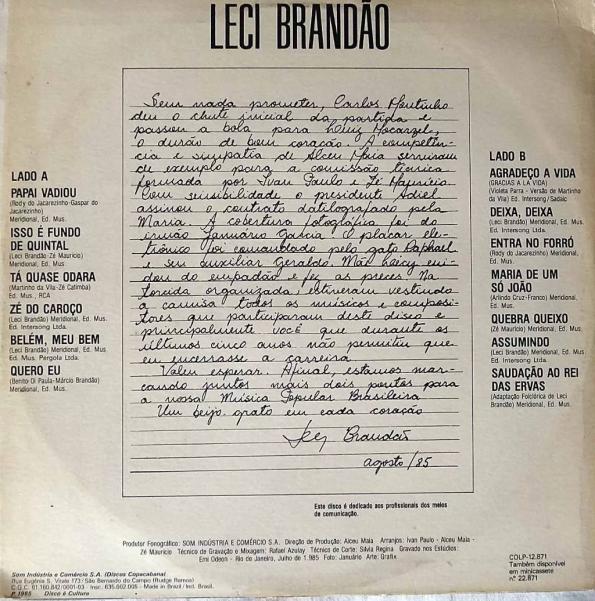 Figura 3 – Contracapa do primeiro disco de Leci Brandão pela Copacabana, em 1985.