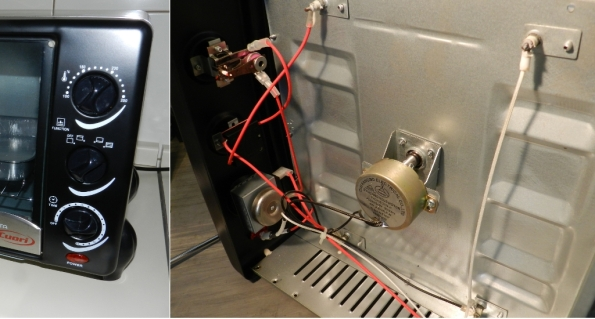 Figura 23 – Vistas externa e interna dos controles do painel frontal. O de cima é o termostato, o do meio escolhe as resistências que ficarão ligadas e o inferior é o temporizador mecânico, com uma sineta acoplada. Bem abaixo, a lâmpada neon, tipo olho de boi, que indica se o forno está ligado. O motor voltado para dentro do compartimento das resistências é do espeto rotativo.