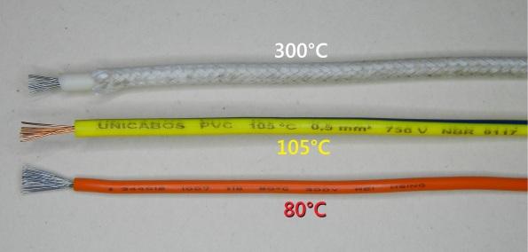 Figura 26 – Em cima, cabo com capa de silicone, coberto com malha de seda, indicado para alta temperatura (até 300°C), sem informação da tensão máxima. No meio, cabo de PVC para 105°C e 750V, certificado pela norma NBR 9117, usado em calhas de fluorescentes. Embaixo, cabo plástico para uso geral (até 80°C e 300V), retirado de fonte de PC.