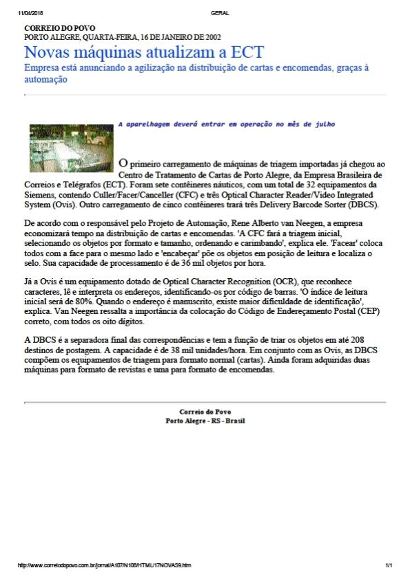 Figura 2 – Notícia do Correio do Povo. Clique para ampliar o texto em nova aba.