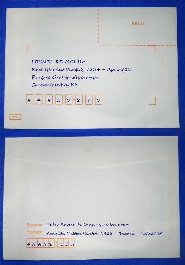 Figura 4 – Frente e verso de envelope manuscrito.