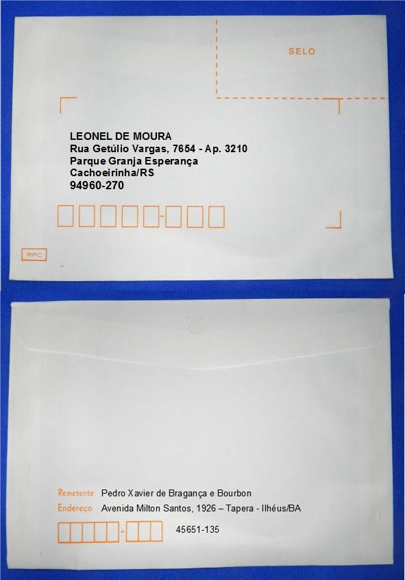 Figura 5 – Envelope endereçado por etiqueta impressa – modo 1.
