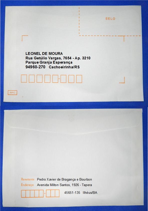 Figura 6 – Envelope endereçado por etiqueta impressa – modo 2. Observe a posição do CEP,