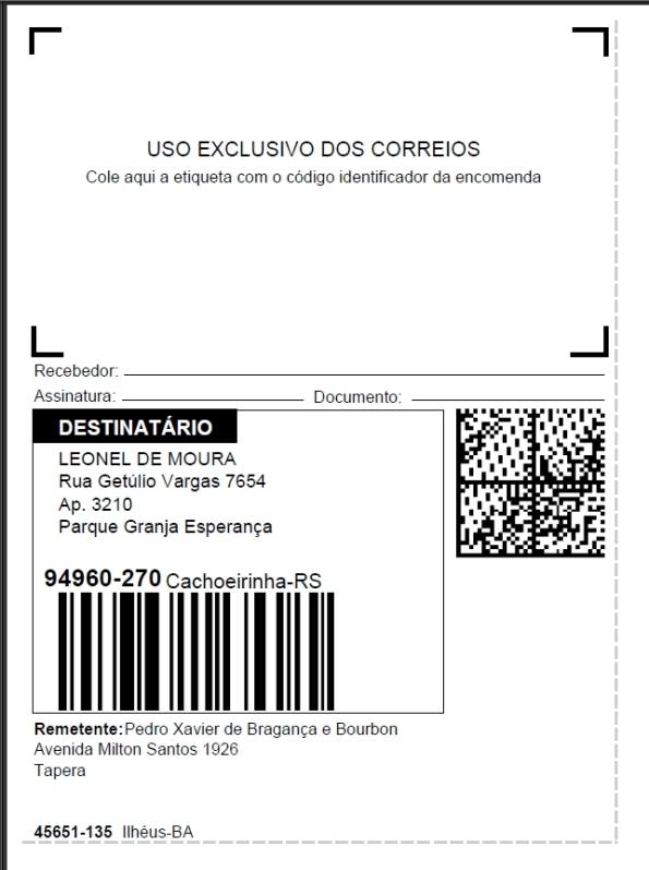 Figura 7 – Etiqueta gerada para encomendas, com código de barras do CEP, obtida no endereçador online dos Correios [4].