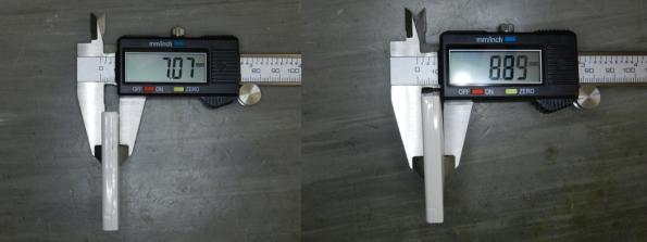 Figura 3 – Diferenças de espessura entre uma bateria normal e outra fortemente estufada, que nem entrava na máquina.