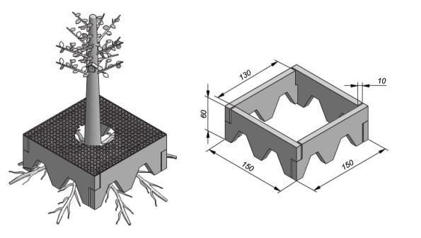 Fig. 36 - Boomkrans - Cimento pré-moldado para árvores. Fonte: Benoton B.V [12].