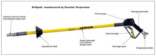 Fig. 41 – Pá pneumática (air spade), modelo 3000, do fabricante de mesmo nome. Fonte: AirSpade® [35].