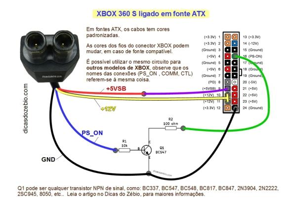 Fig. 14 - Esquema geral do circuito adaptador de fontes ATX para trabalhar com XBOX. Clique na imagem para ampliar em nova aba do navegador.