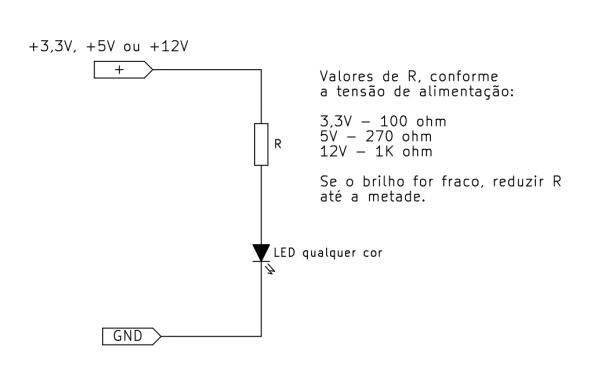 Fig. 16 - Forma de ligar um LED na saída de uma fonte ATX (com opção para 3,3V, 5V e 12V).
