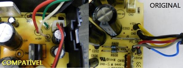 Fig. 5 – Cores dos fios do cabo em fonte compatível (esquerda) e original (direita), para o XBOX 360S.