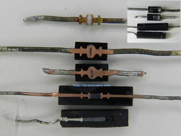 Fig. 3 – Entranhas dos diodos 1N4001, 1N4007, BY184 e um modelo desconhecido, para MAT (Muito Alta Tensão). Ao alto, à direita, estão os mesmos diodos, mostrados pelo lado do encapsulamento. No topo da imagem, ao centro, temos um diodo 1N4004, sem o invólucro, que serve como referência.
