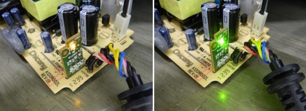 Fig. 13 – À esquerda, fonte ligada somente na tomada (luz laranja). À direita, fonte em funcionamento normal (luz verde).