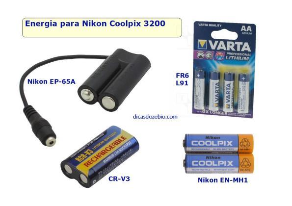 Fig. 2 – Fontes de energia compatíveis com a Nikon Coolpix 3200. No alto, à esquerda o adaptador EP-65A, que usa fonte de alimentação.