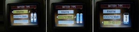 Fig. 3 – Opções de configuração de pilhas da Nikon Coolpix 3200.