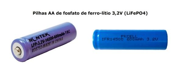 Fig. 4 – Pilha AA de fosfato de ferro-lítio de 3,2V. Fonte: AliExpress [1] e Rontek (STA) [2].