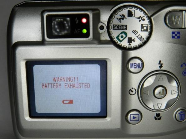 Fig. 5 – Display da Nikon Coolpix 3200, quando reclama do estado das pilhas.