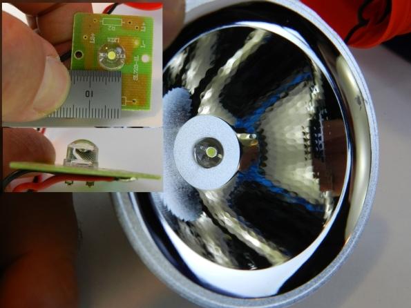 Fig. 10 – Detalhe do LED e do refletor da lanterna utilizada no capacete.