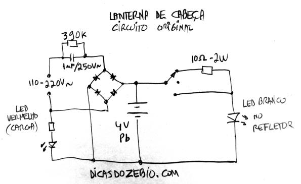 Fig. 7 – Circuito original da lanterna de cabeça recarregável. Simples demais, a bateria fica exposta a sobrecarga.
